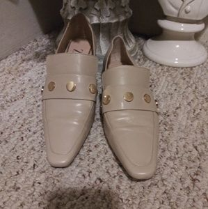 VGUC Zara Tan Leather Loafer With Gold Stud Detail